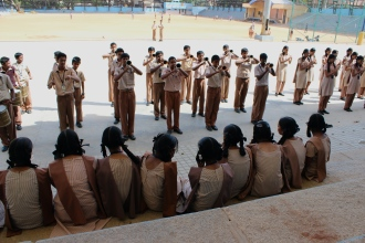 One day we were hanging out at the cricket grounds and a local secondary school came out to practice for marching band.
