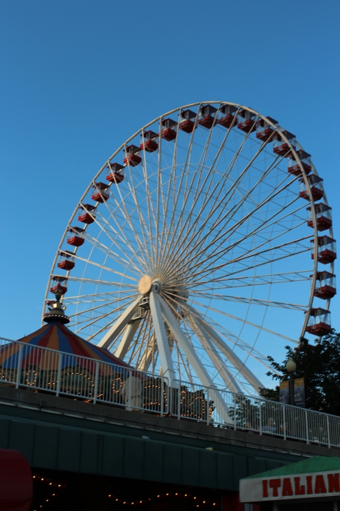 This ferris wheel is at Navy Pier. It gave us a beautiful view of downtown Chicago a dusk!