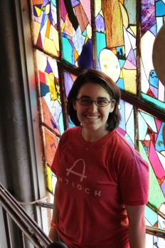 I didn't really like touching the fish...but I thought this stain glass mural was pretty. :)