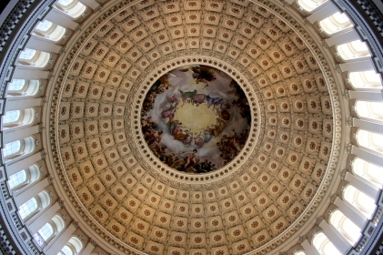 Inside the rotunda of the Capitol.