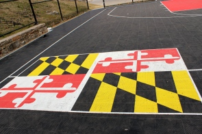 There was a sweet basketball court with the Maryland flag painted on it though!