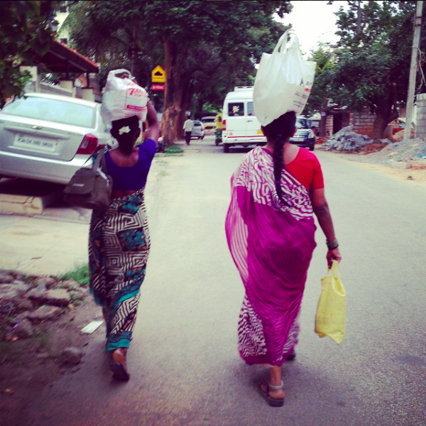 I never mastered the art of carrying our groceries on my head, but these ladies are rocking it!